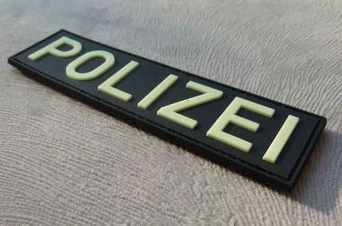 JTG - Polizei Schriftzug - Patch, gid (glow in the dark) / 3D Rubber patch