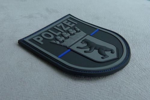 JTG - Ärmelabzeichen - Polizei Berlin - Patch, blackops - Thin Blue Line / 3D Rubber